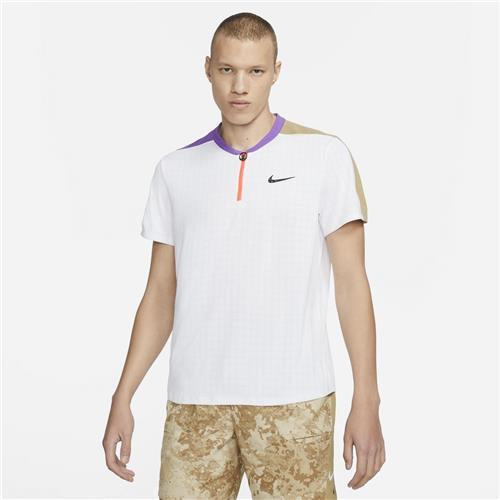 Nike Court Mens Breathe Slam Polo (White/Purple/Beige)