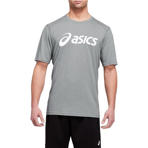 Asics Mens Triblend Training Short Sleeved Top (Sheet Rock Heather/Brilliant White)