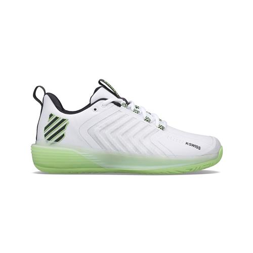 K-Swiss Ultrashot 3 Mens Tennis Shoes (White/Soft Neon Green/Blue Graphite)