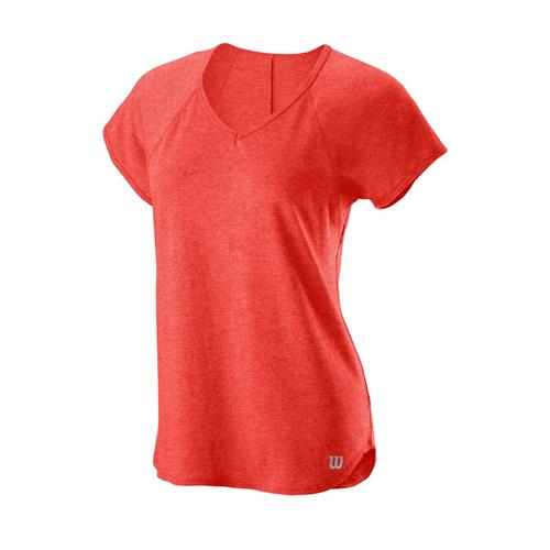 Wilson Womens Training V-Neck Tee (Hot Coral)