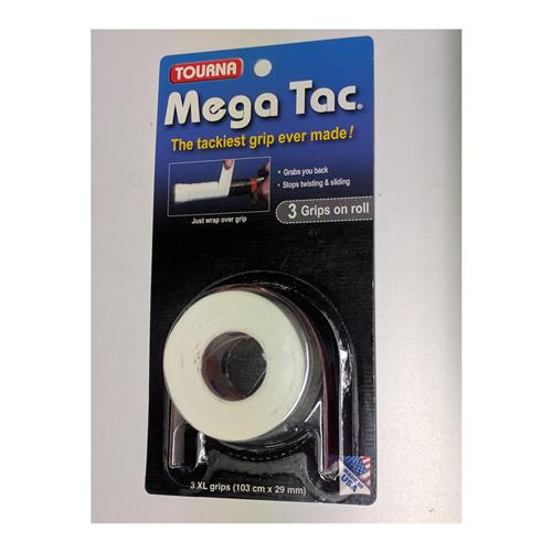 Tourna Mega Tac Overgrip 3 Pack (White)