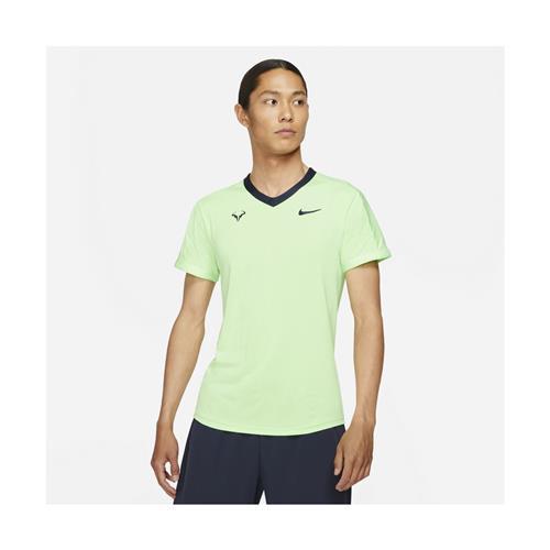 Nike Court Mens Rafa Drifit Advantage Short Sleeve Top (Lime Glow/Obsidian/Lime Glow/Obsidian)