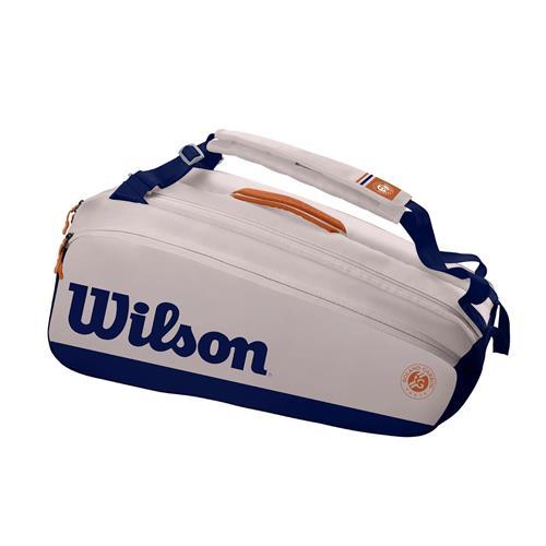 Wilson Roland Garros Premium 9 Pack 2021 Racquet Bag (Oyster/Navy)