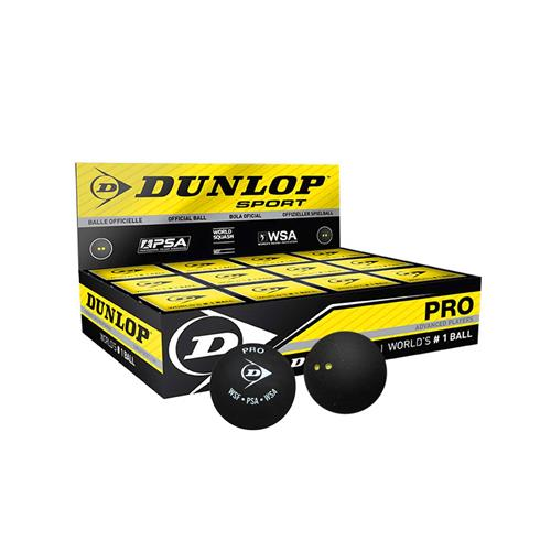 Dunlop Pro Squash Ball Double Yellow (Pack Of 12)