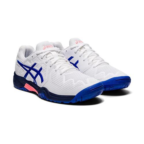 Asics Gel-Resolution 8 GS Kids Shoe (White/Lapis Lazuli Blue)