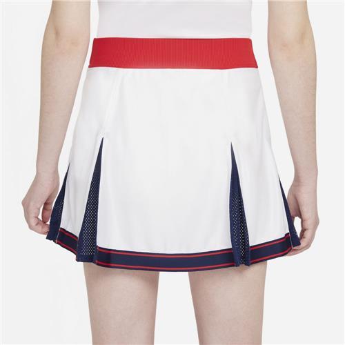 Nike Court Womens Dri-Fit Slam Skirt (White/University Red/Binary Blue)
