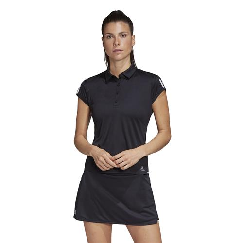 Adidas Womens Club 3 Str Polo (Black/Silver/White)